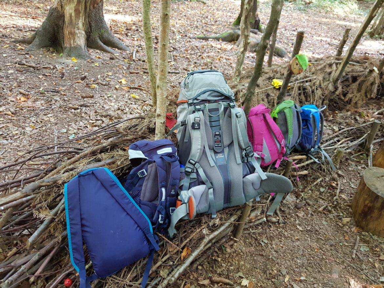 Rucksäcke auf Waldsofa